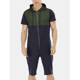 Férfi új divat alkalmi Patchwork rövid ujjú jumpsuit hálóing