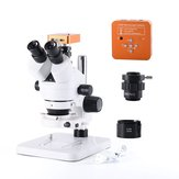 21MP 2K HD USB Microscope Camera with 56 LED Light Trinocular Stereo Microscope Zoom 7X-45X Repair Microscope For PCB Soldering