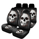 1/2/7PCS Car Seat Cover Set Universal Fit Skull Pattern Seat Protection Cover