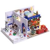 Montar DIY Brinquedo de casa de madeira de Natal em miniatura Boneca Casas em miniatura Boneca Brinquedos de casa Natal feitos à mão por crianças Presente