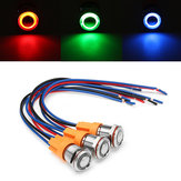 12V-24V 4Pin 12mm Metal ON/OFF LED Push Button Switch Wiring Harness Switch Self-Locking Waterproof