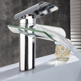 Chrome Solid Brass Glass Faucet Waterfall Bathroom Kitchen Basin Sink Mixer Tap