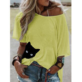 Cat Print Women Summer Short Sleeve Loose Daily Casual Blouse