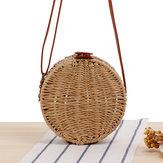 Women Round Woven Straw Crossbody Bag Solid Beach Bag