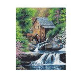 Oil Painting By Number Kit House River Landscape DIY Acrylic Pigment Painting By Numbers Set Hand Craft Art Supplies Home Office Decor