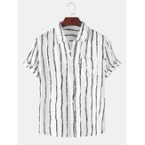 Heren Holiday Stripe Borstzak Ademende casual shirts met korte mouwen
