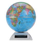 Zonne-automaat Roterende wereldbol Decoratieve Desktop Aarde Aardrijkskunde Wereldbol Basiskaart Wereldkaart Educatief cadeau w / Basis