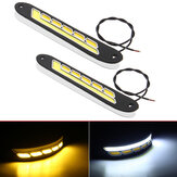 2Pcs 12V COB LED Car DRL Daytime Running Lights Strip Yellow & White Dual Color Turn Signal Fog DayLight