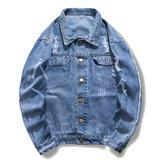 Mens Fashionable Ripped Denim Jacket