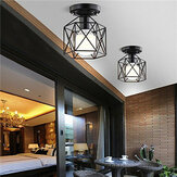 Industrial Vintage Metal Cage Pendant Lamp Diamond Shape Metal Ceiling Light for Bar Kitchen AC110V