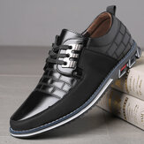 Men Genuine Leather Splicing Non Slip Lace Up Soft Casual Shoes