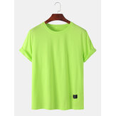 Mens Plain Solid Color Little Tag Breathable Short Seeve T-Shirts