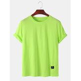 Heren effen effen kleur met kleine tag Ademende T-shirts met korte mouwen