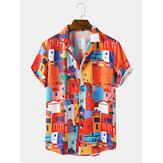 Heren Causaal Gebouw Patroon Pocket Shirts met korte mouwen