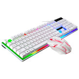 G21B 104 Key USB Wired Gaming Keyboard Mouse Set Rainbow LED Rainbow Color BacklightFor PC Laptop Slim Xbox Computer Desktop Notebook