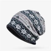 Women Plus Snowflake Print Multi-purpose Beanie Hats Scraf Outdoor Warm Cap Collar