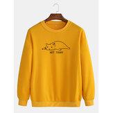Cotton Mens Cartoon Cat & Letter Print Round Neck Drop Shoulder Sweatshirts