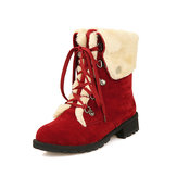Snow Boots Winter Women Blijf Warm Lace Up Flat Shoes
