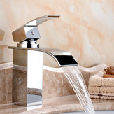 Bathroom Waterfall Sink Faucet Single-lever Mixer Tap Deck Mount Vanity Vessel Mixer Tap Hot Cold Brass Faucets