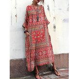 Equipo de estampado floral vintage Cuello holgado holgado maxi Vestido