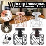 E27 Retro Luz de teto de ferro 4 cores semi-embutida montagem lustre artesanato luminária
