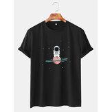 メンズ宇宙飛行士漫画プリントクルーネック半袖Tシャツ