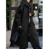 Women Thick Turtleneck Long Sleeve Zipper Mid-Calf Length Coats With Pocket