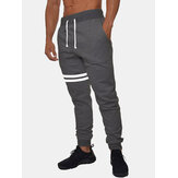 Mens Striped Design Casual Drawstring Fleece Cotton Knitted Sport Beam Feet Pants