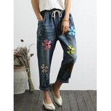 Women Drawstring Waist Pockets Denim Jeans