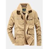 Jaqueta masculina com forro de lã quente Cargo com bolso