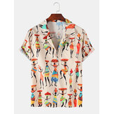 Tribe Ethnic Character Print manches courtes Casual Holiday Revere Shirts