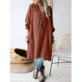 Femmes coton col en v couleur unie manchette boucle lâche robes simples