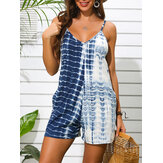 Tie-dye Print Holiday Sleeveless V-neck Sling Casual Jumpsuit