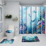Печатный Ocean World Whale Водонепроницаемы Ванная комната Набор ковриков для занавески для душа и туалета