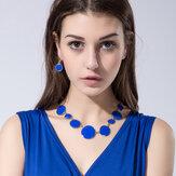 Blue Enamel Round Flat Necklace Brincos Conjunto de jóias estilo simples para mulheres