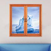 Buzdağı 3D Yapay Pencere Görünümü 3D Duvar Çıkartmaları Soğuk Bariyer PAG Çıkartmaları Ev Duvar Dekoru Hediyesi