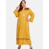 Plus Size Women Yellow Bohemia Tassel Vintage Maxi Dress