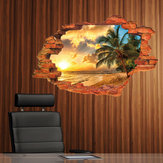 Miico Creative 3D Island Sea Sunset Coconut Palm Removable Home Room Decorative Wall Decor Sticker