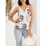 Floral Print Halter V-neck Patchwork Holiday Sleeveless Tank Top