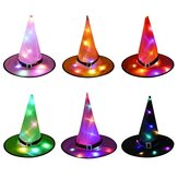 Halloween LED Costume Props Witch Hats LED Lights Cap for Halloween Outdoor Tree Hanging Ornament Home Glow Party Decor