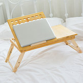 Multi Function Lapdesk Table Bed Tray Folding Adjustable Table Tilting Top with Storage Drawer Bamboo Wood
