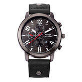 Fashion Casual Men Watch Date Display Leather Strap Quartz Watch
