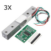 3Pcs 5KG Small Scale Load Cell Weighing Pressure Sensor With A/D HX711AD Adapter