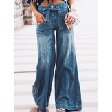 Women Casual Zipper Fly Lace-Up Mid Waist Wide Leg Jeans With Pocket