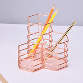 Rose Gold Hexagonal Pen Holder Combination Metal Multifunctional Office Desk Storage Pen Holder Home Stationery Supplies