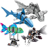 S Innovate 7006A-D Robot Shark Swim Fish Gear Toy Blocks Giocattoli 342 Pz Kid regalo mobile