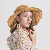 Woman Solid Color Large Edge Cap Travel Shade Straw Hat