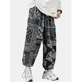 Mens Paisley Ethnic Print Cotton Relaxed Fit Drawstring Cuff Pants