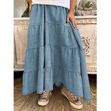 Saias casuais sólidas simples com cintura elástica alta jeans pregueada