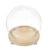 Round Decorative Transparent Glass Dome with Wooden Base Cloche Bell Jar